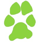 Green dog paw clipart